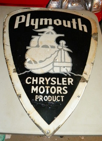 $OLD Early Plymouth Diecut Porcelain Sign w #0: DSCN5678 JPG m=